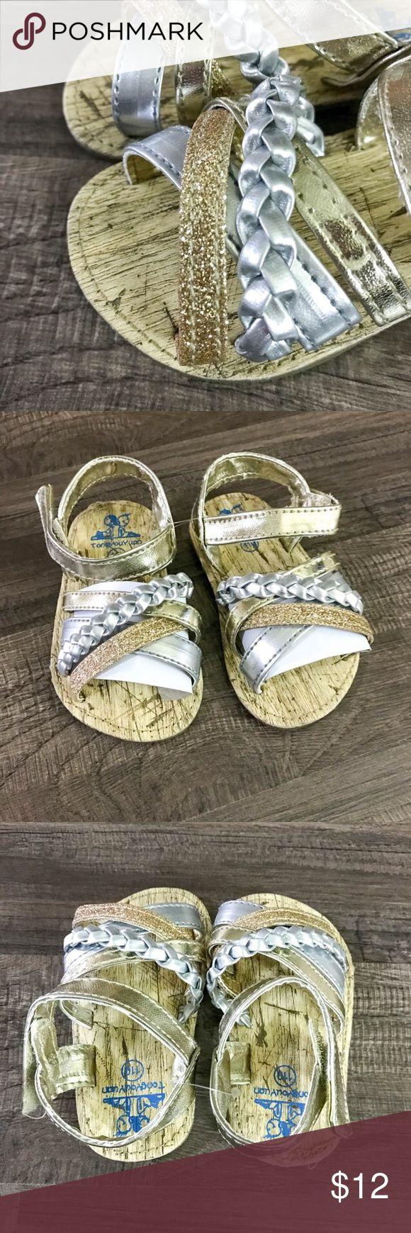 Gold & Silver Strappy Sandals NWOT glittery gold & silver strappy sandals, pictures do not do them justice! Size 3C #girlssandals #goldandsilver #glitter Shoes Sandals & Flip Flops