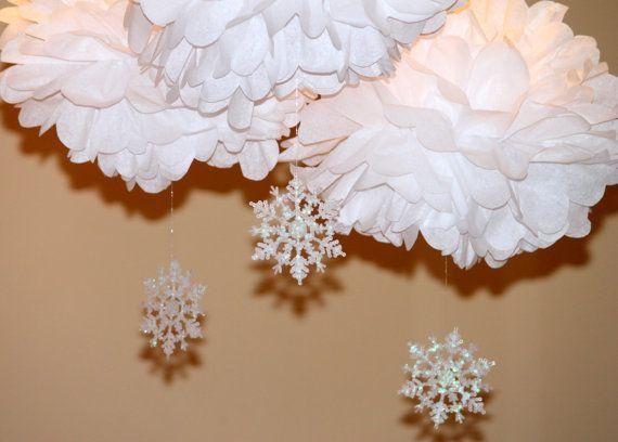 Snowflake Pom Pom Kit SET von drei Baby Dusche ersten Geburtstag Party Dekoration Winter Wonderland ONEderland