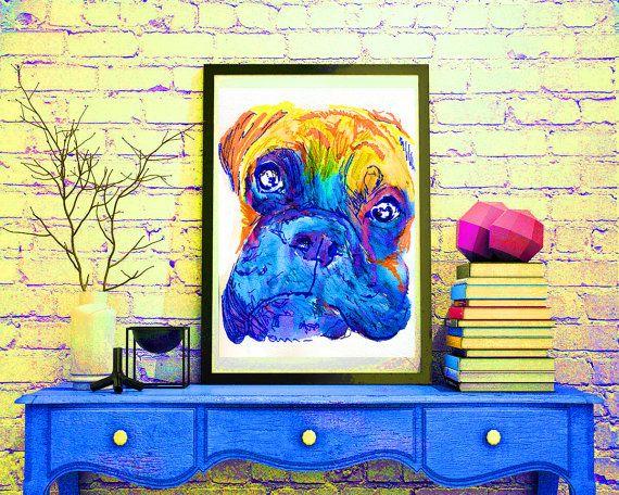 Boxer Dog colorful painting portrait art Print Orange blue painting home decor…