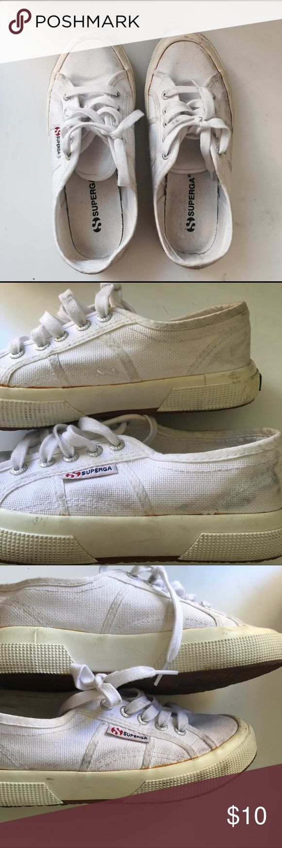 Superga white sneakers Worn in condition, kinda dirty. I didn't try washing them so price reflects. Superga Shoes Sneakers