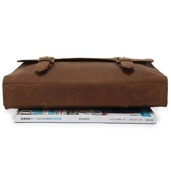 Image of Leather Briefcase Messenger Bag For Men Superior Crazy Horse Leather iPad Case--FREE SHIPPING