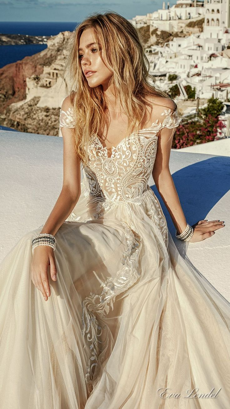 champagne beige nude coffee coloured or taupe wedd colorful wedding dress Eva Lendel Wedding Dresses Santorini Bridal Campaign