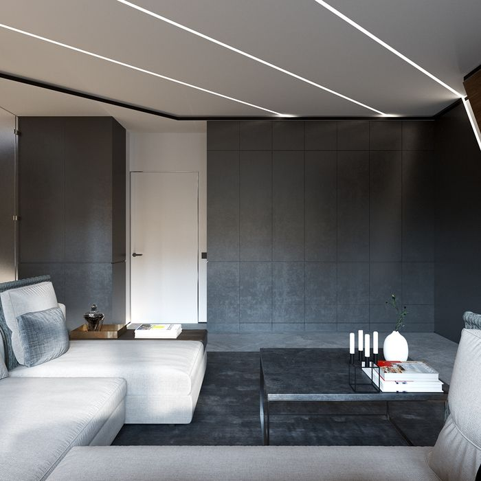 Очередной мужской интерьер — проект однокомнатной квартиры площадью 50 м², разработанный белорусской студией Shmidt Studio.