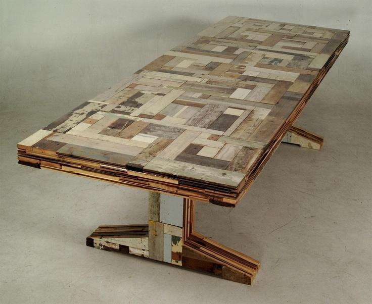 Sloophouten tafel (table of scrapwood, circa 1992), by Dutch designer Piet Hein Eek