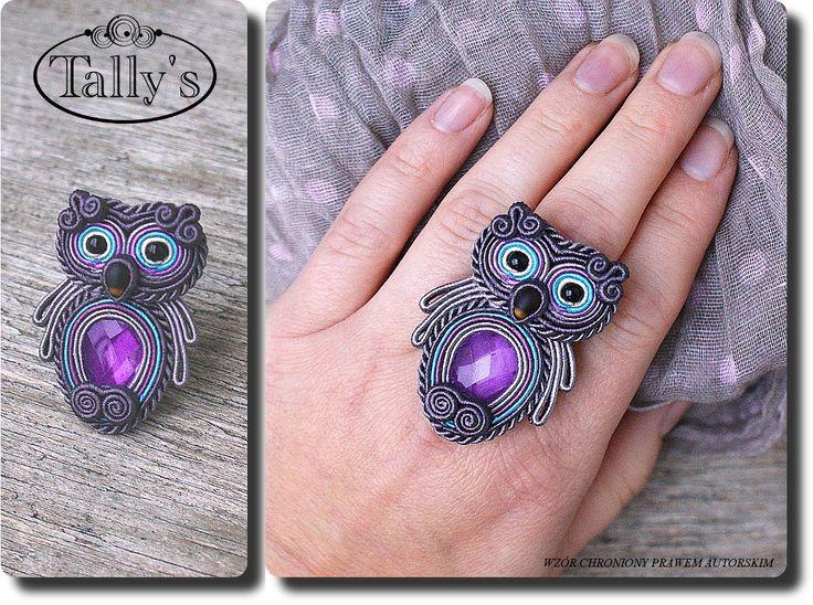 soutache hibou violet