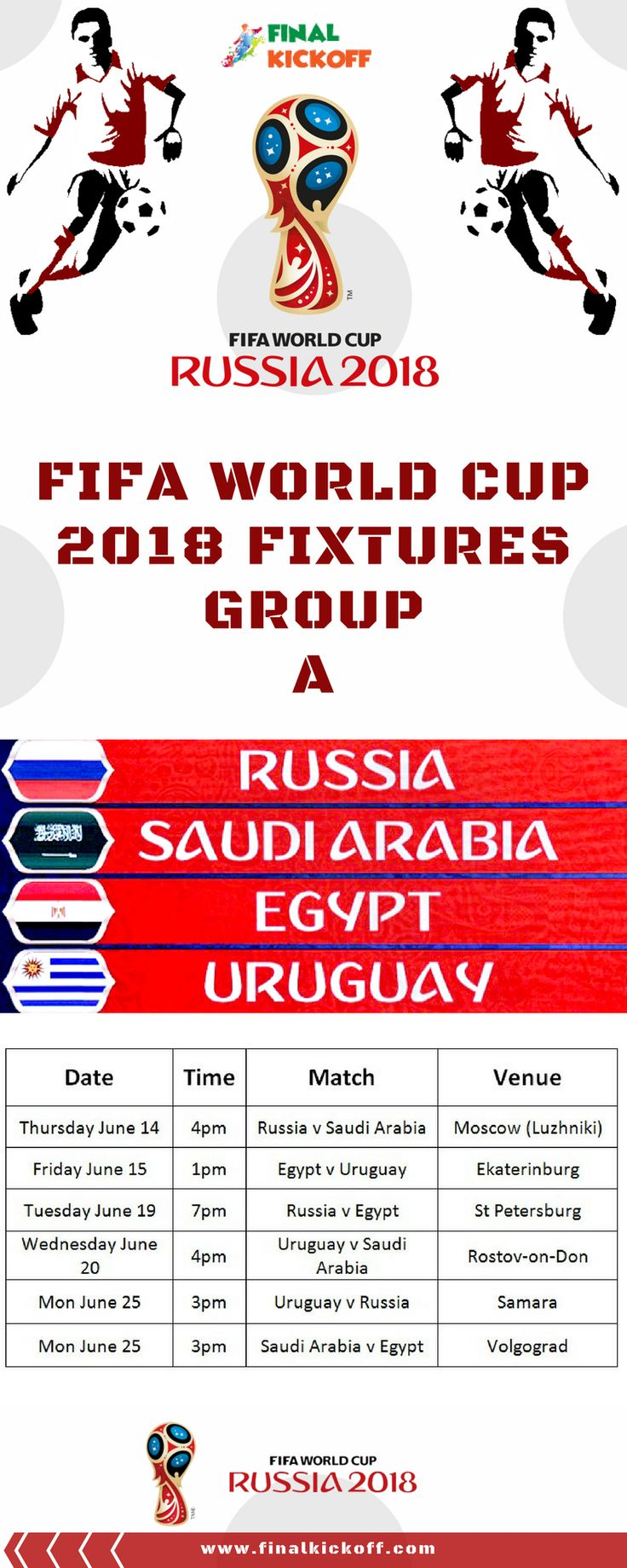 FIFA World Cup 2018 Match Schedule Group A