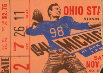 ThanksTerrific Michigan football art made from an authentic 1941 Ohio State vs. Michigan football ticket. Great Michigan football art for a game room or office. 47 STRAIGHT has the best collection of vintage Michigan football shirts, art, coasters, and Michigan football gifts made from authentic Michigan football tickets. awesome pin