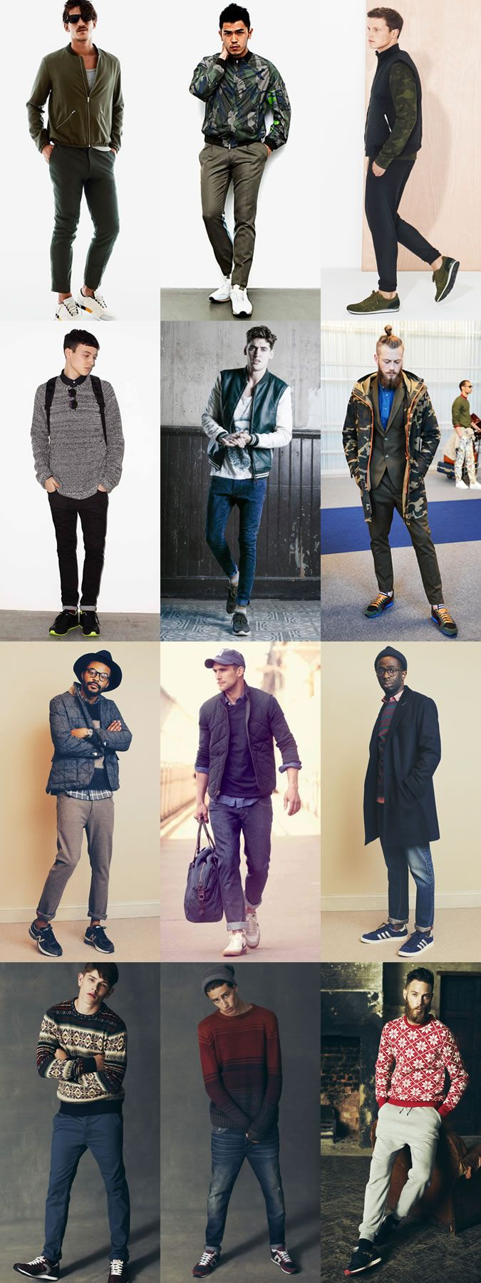 Men's Retro Running Trainers Lookbook Outfit Inspiration