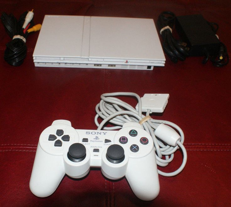 Sony PlayStation 2 Slim Ceramic White PS2 SCPH-79001 with Matching Controller #Sony