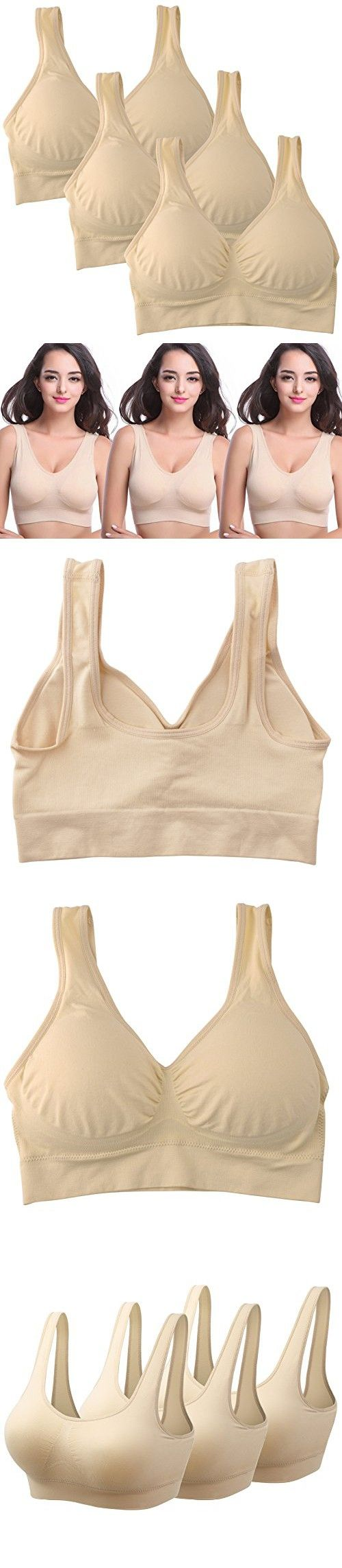 Mirity Padded Sports Bras For Women Freedom Seamless Racerback Spanx Yoga Bra Pack of 3, 3 Beige, Large