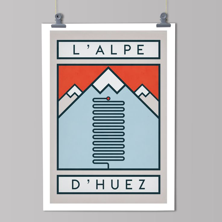 The Routes: L'Alpe d'Huez - Cycling Art Print – The Handmade Cyclist