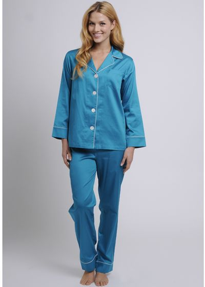 Women's Egyptian Cotton Pajamas- Teal $178 #cottonpajamas #olist #madeintheusa #bestpajamas #luxurypajamas #pajamas #womenspajamas #egyptiancottonpajamas