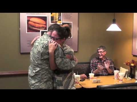 Soldier, Home Early, Surprises His Wife in Chick-fil-A!