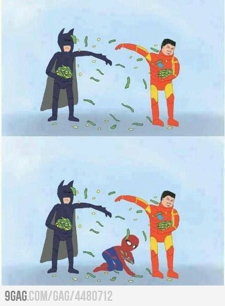 Mo' Money...Batman Vs, Make Money, Spiders Man, Iron Man, Funny, Ironman, Poor Spiderman, Superhero, Marvel Heroes