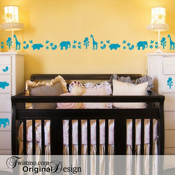 Add a touch of zoo or safari with this fun vinyl wall decal border Arrange the 3 foot sections end to end or cut pieces apart and use in small groupings or individually. Decorate your wall, baseboard, furniture, lampshades, most any smooth clean surface.  Your Purchase Includes: - Design: Elephant, Giraffe, Hippo Border - Color: See options menu - Size: See image #3 - 9 ft or 18 ft border (made with 3 ft sections) - Application Instructions  -- ALL MY ORIGINAL DESIGNS: www.etsy.me/TWISTM...