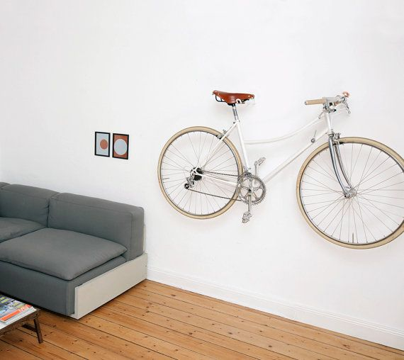 Bike Hooks / WHITE VINTAGE SKIN by AlexaLethen on Etsy - bike hanging by hooks under seat and handlebars