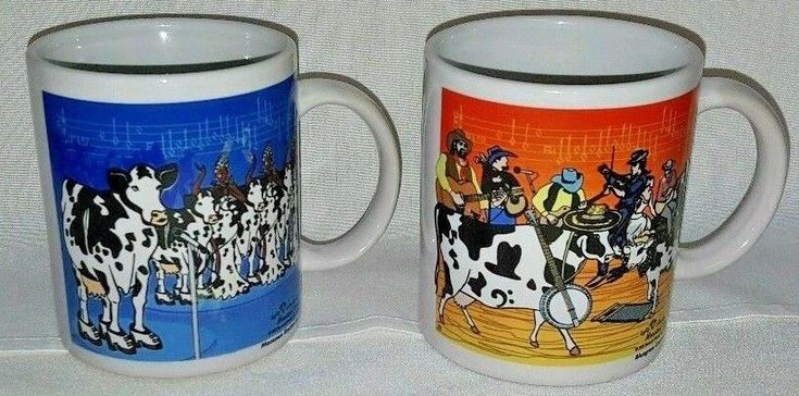 Moosical Cows Coffee Mug Cup 2003 Collectible Set of 2