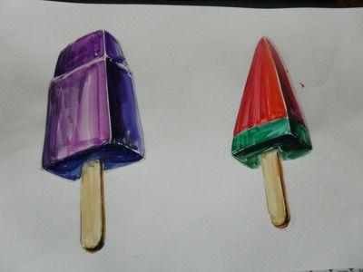 수채화 응용기초를 위해 아이스크림을 변형하여 색상을 분할하고 빛의 흐름을 이해하며 작업중입니다 어려울수도 있는 수채화지만 우리친구들은 열심히 작업중이랍니다^^
