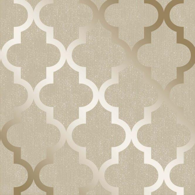 Camden Trellis Wallpaper Cream, Gold (H980531)