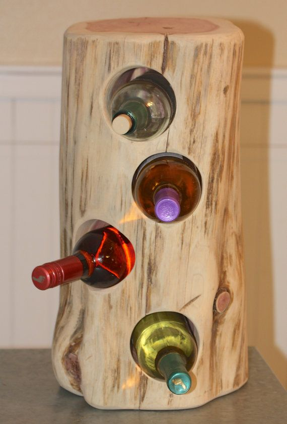 Rustic Wine Holder cedar tree stump holds 4 by tricia16designs