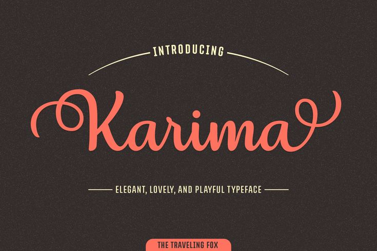 Karima Font  Karima is a stunning script font featuring over a 1000 unique glyphs. It's multi-lingual, eligible and features more than 20 stylistic alternates, allowing you to create endless combinations and variations. With this font in your toolbox, you will be able to turn each design into something unique within a matter of seconds.