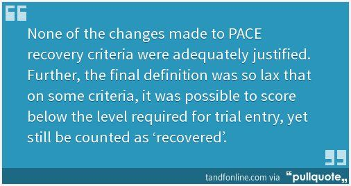 Do PACE data on chronic fatigue syndrome hold up? @wilshica et al say no http://pllqt.it/mwxZ34  via @davidtuller1