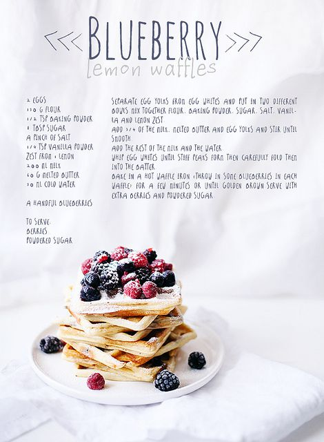 Blueberry-Lemon Waffles Recipe, plus Recipes for French Toast and Coconut Pancakes w/ Chocolate Sauce by Call me cupcake,