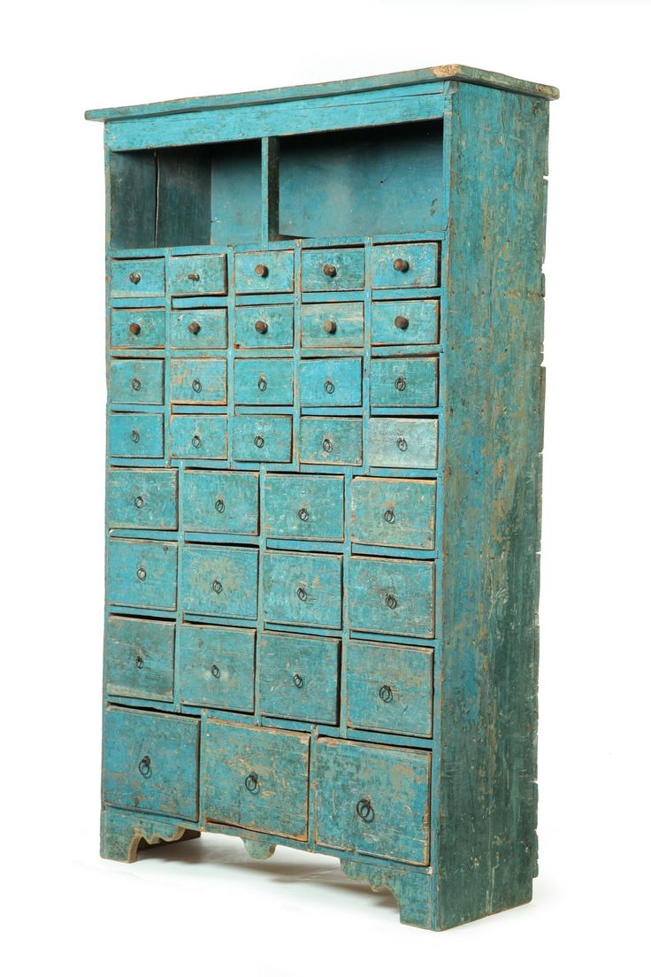 apothecary chest in old robin's-egg blue paint