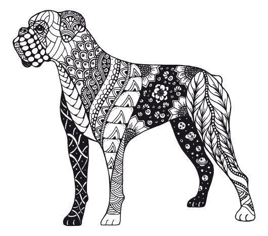 Kostenloses Ausmalbild Hund - Boxer. Die gratis Mandala Malvorlage einfach ausdrucken und ausmalen.