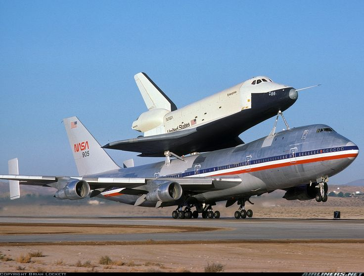 The space shuttle Enterprise and 747 carrier aircraft, late 1970s.