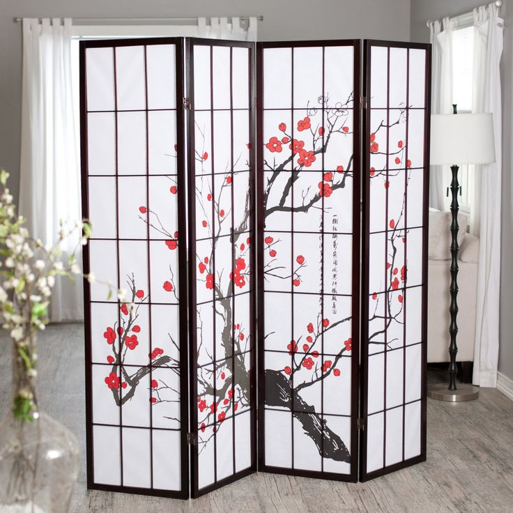 Cherry Blossom Rosewood 4 Panel Room Divider - Infuse your home with sensuous East Asian style with this inspiring Cherry Blossom Rosewood 4 Panel Room Divider . This classic standing divider is right...