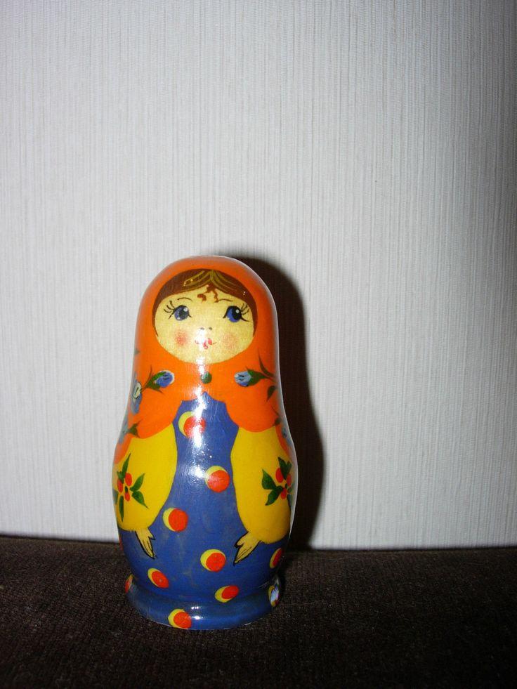 Матрёшка (синий-жёлтый-оранжевый). Советские игрушки - http://samoe-vazhnoe.blogspot.ru/