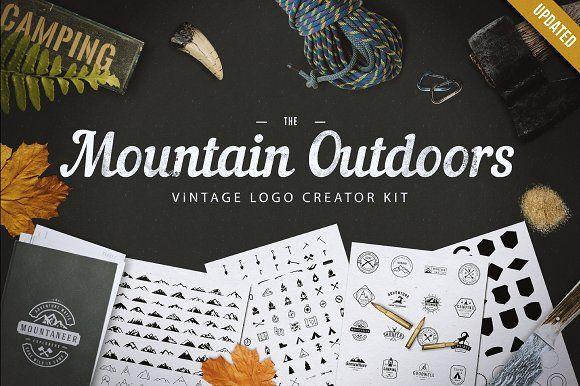 Mountain Outdoor Vintage Logo Kit by lovepower on @creativemarket