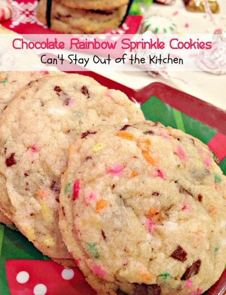 Chocolate Rainbow Sprinkle Cookies | Can't Stay Out of the Kitchen | spectacular cookies with ghirardelli chocolate and rainbow sprinkles.Great for holiday baking.