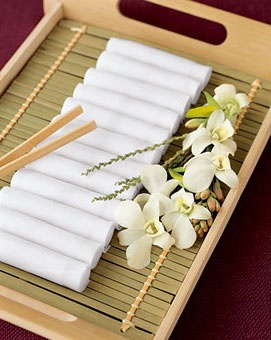 Towels with Chopsticks in the Bathroom for even your touch in there.