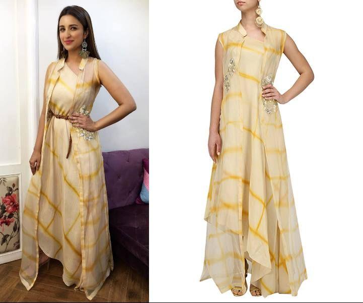 Parineeti Chopra in Anoli Shah Design Inc's Beige and Yellow One Shoulder Top and Jacket Set #anolishah #parineetichopra #getthelook #celebcloset #celebstyle #contemporarywear #indianfashion #Indiandesigners #shopnow #perniaspopupshop #happyshopping