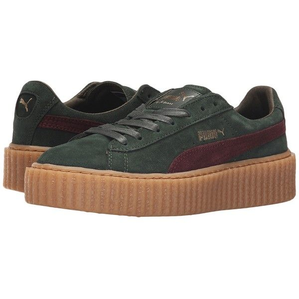 PUMA Rihanna x Puma Suede Creepers (Green/Bordeaux/Gum) Women's Shoes ($140) ❤ liked on Polyvore featuring shoes, bordeaux shoes, creeper platform shoes, green shoes, puma shoes and suede platform shoes