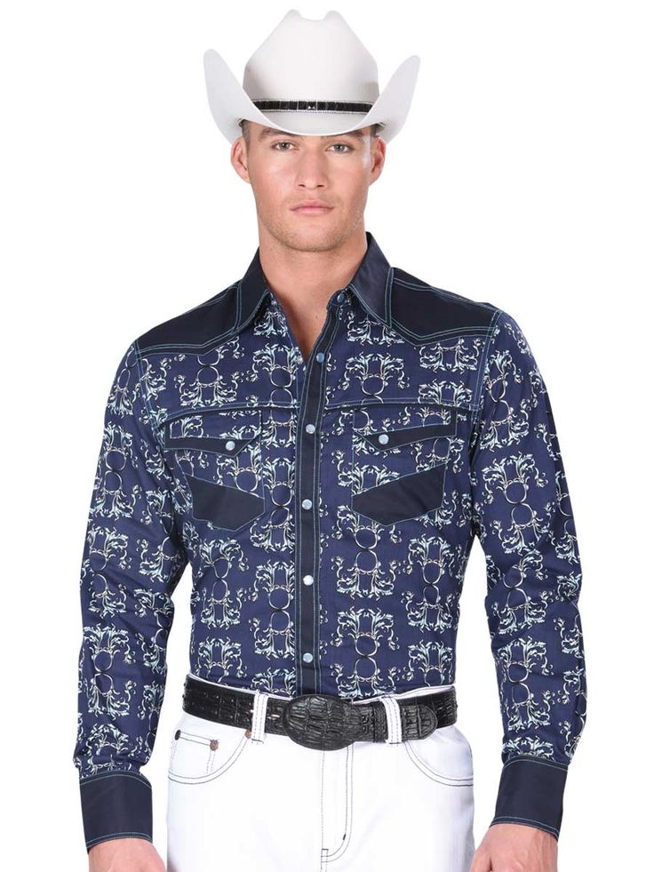 34229 Camisa Vaquera Manga Larga De Hombre 'El General', 100% Cotton - Navy
