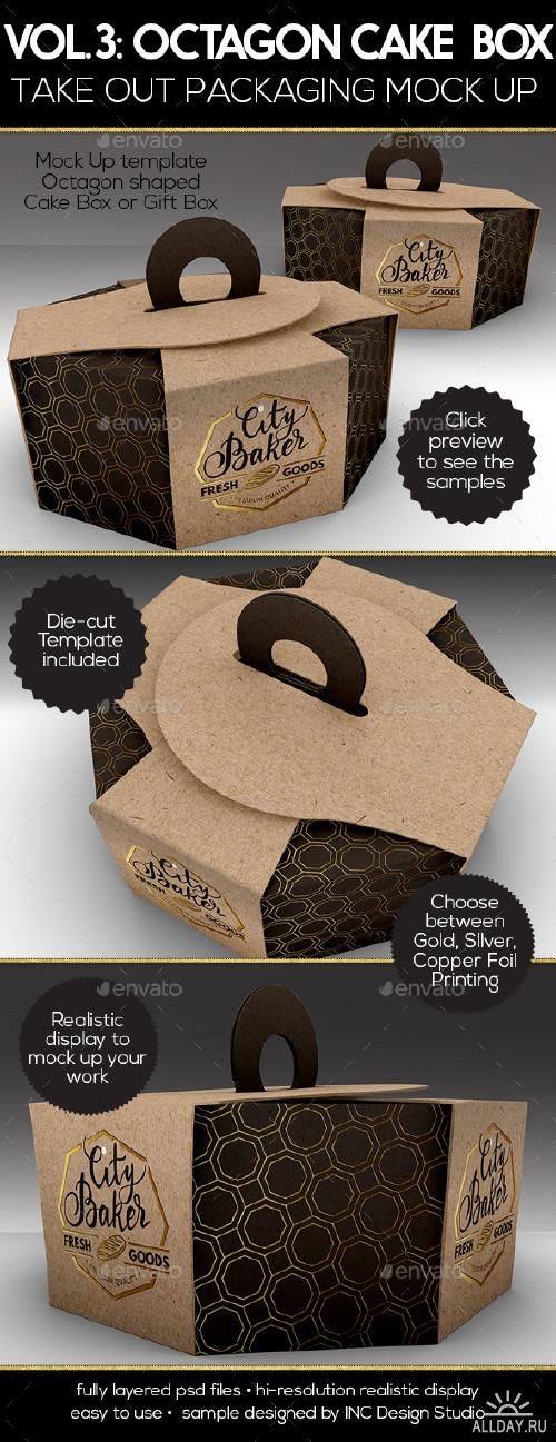 Packaging Mock Up Octagon Cake or Pastry Take Out Boxes VOL.3 - 16825782