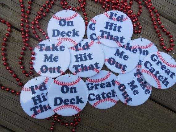 Set of 12 Bleacher Bachelorette Party Baseball Necklaces white ball with horizontal stitching you choose the colors and words on Etsy, $30.00