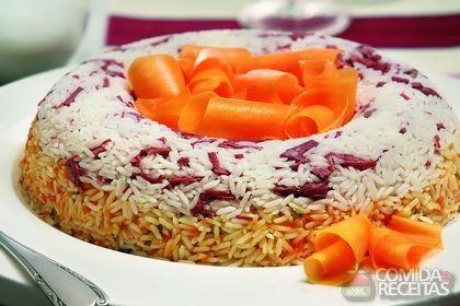 Receita de Anel de arroz de carne seca e abóbora em receitas de arroz, veja essa e outras receitas aqui!