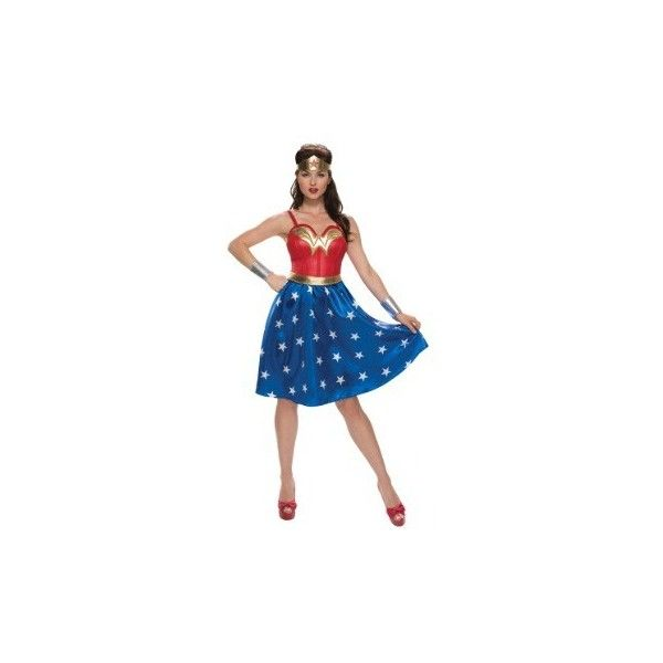 Deluxe Plus Size Long Dress Wonder Woman Costume ❤ liked on Polyvore featuring costumes, costume, plus size superhero costumes, plus size womens halloween costumes, super hero halloween costumes, womens plus costumes and wonder woman costume
