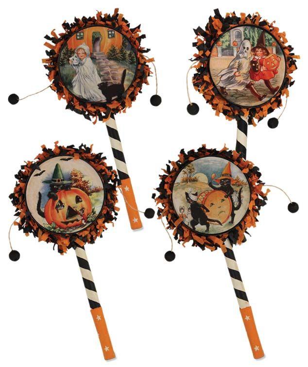 halloween drum rattles retro halloweenhalloween cardshalloween decorationsfall - Vintage Style Halloween Decorations