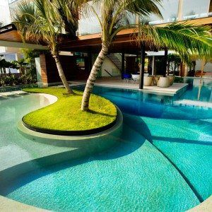 Swimming Pool Design With Unique Center Island Idea , Best Swimming Pool Designs Improving Your Home Values In Outdoor Category