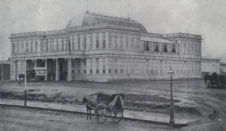 The first exhibition building for Melbourne, demolished to make way for the Royal Mint on William Street.