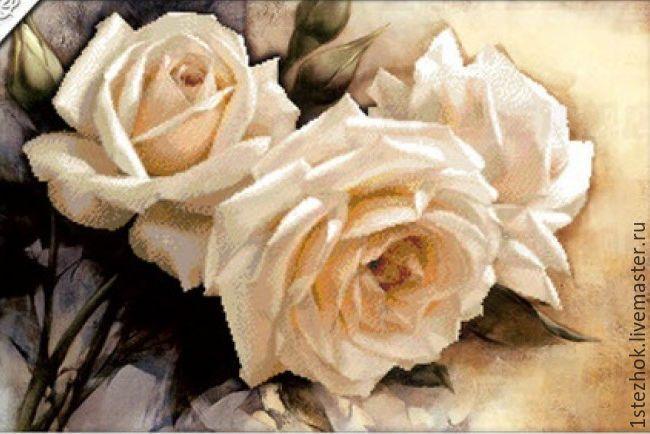 Купить Набор для вышивки крестиком шелковой нитью 3D Белые розы - набор для вышивания