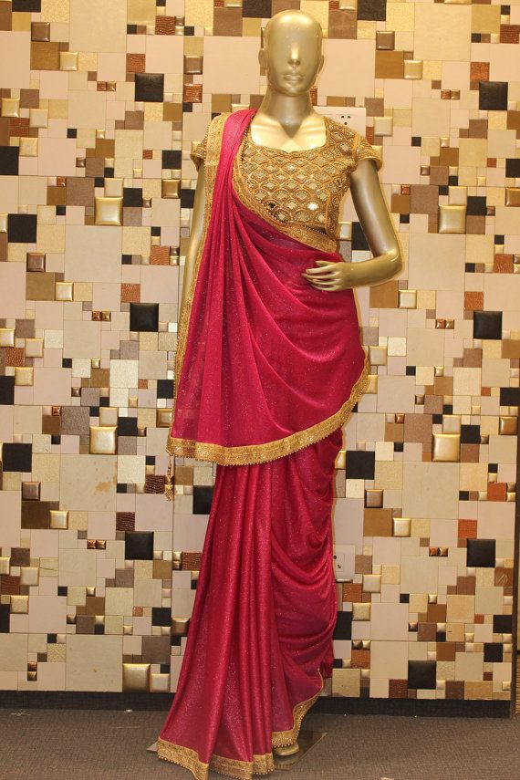 Red Lycra Indian #Designer #Bollywood #Saree #Blouse by Shoppingover