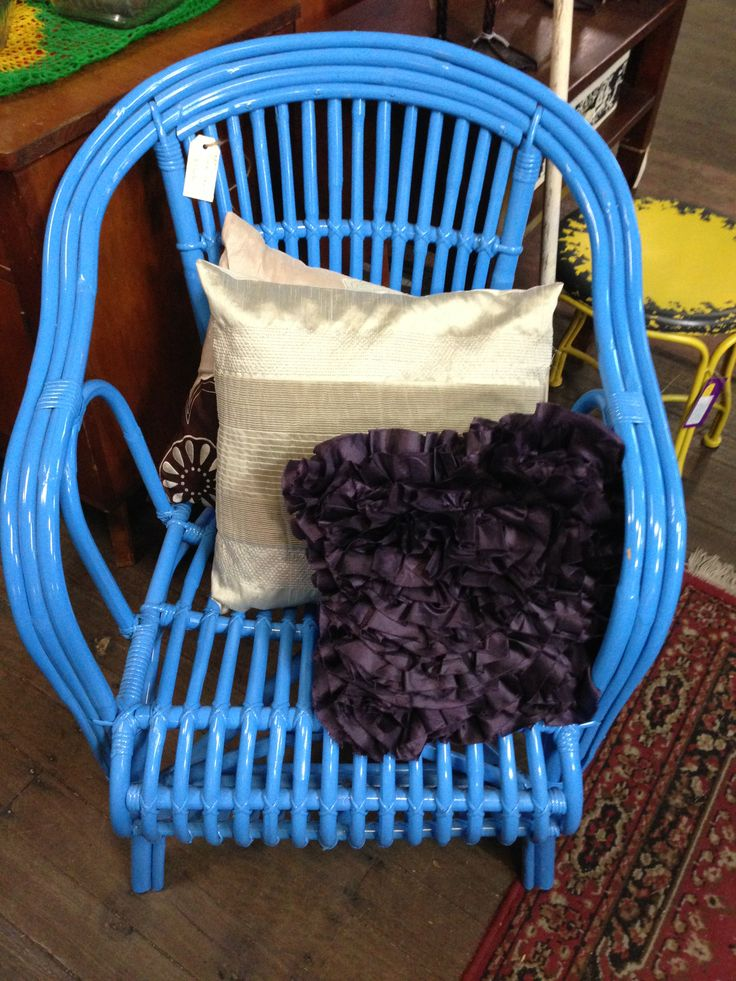 This beautiful blue bamboo chair is new and so very comfortable. #cane #bamboo #chair #itsmeagain
