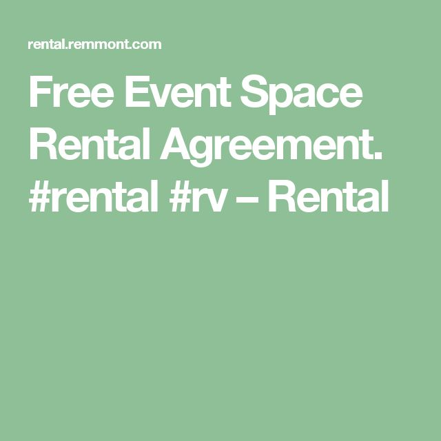 Free Event Space Rental Agreement. #rental #rv – Rental
