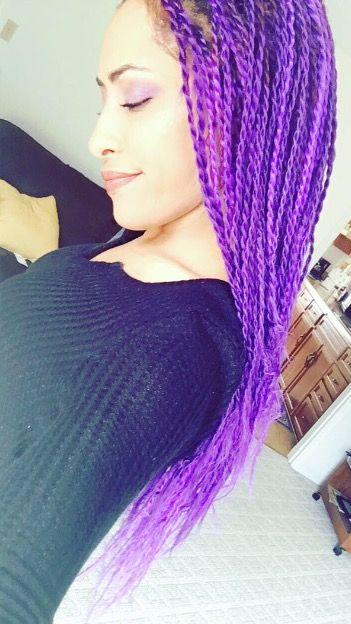 Purple Senegalese twists I did on myself